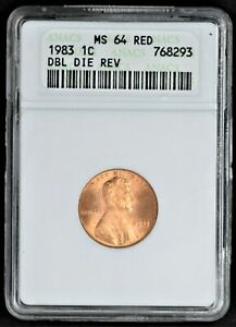 1983 DOUBLE DIE REVERSE LINCOLN MEMORIAL CENT ANACS MS64 RED
