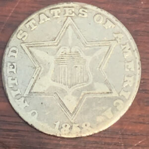 1858 THREE CENT PIECE 3CP SILVER US NICE TYPE COIN R 119