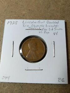 1928 LINCOLN WHEAT CENT ERROR DOUBLED EYE LID SOUTH OF EYE VF 004
