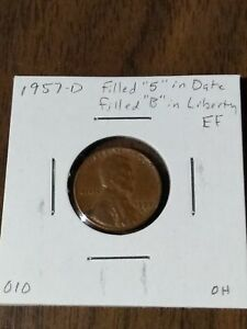 1957 D LINCOLN WHEAT CENT ERROR FILLED 5 IN DATE AND FILLED B IN LIBERTY EF 010