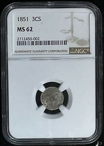 1851 3 CENT SILVER PIECE CERTIFIED BY NGC MS 62