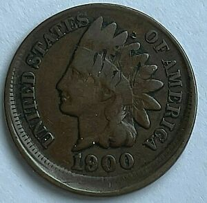 1900 INDIAN HEAD CENT   10   OFF CENTER ERROR   SOLID G