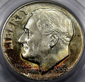 Click now to see the BUY IT NOW Price! 1955 D ROOSEVELT DIME PCGS MONSTER GEM BU MS 67  AWESOME SURFACES & LUSTER