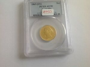 Click now to see the BUY IT NOW Price! 1865  SY  AUSTRALIA SOV PCGS HOLDER AU 50