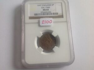 Click now to see the BUY IT NOW Price! 1697 ENGLAND 6P NGC HOLDER MS 64