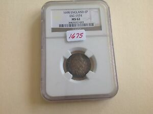 Click now to see the BUY IT NOW Price! 1698 ENGLAND 6 P IN NGC HOLDER MS 62