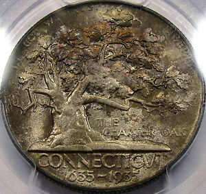 Click now to see the BUY IT NOW Price! 1935 CONNECTICUT COMMEM. HALF GEM BU PCGS MS 65 WITH NEAT COPPERY AUTUMN TONES