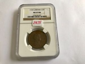 Click now to see the BUY IT NOW Price! 1724 GREAT BRITAIN 1/2 P NGC MS 63 BROWN