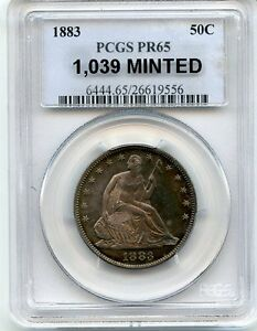 Click now to see the BUY IT NOW Price! C6842  1883 PROOF SEATED LIBERTY HALF DOLLAR PCGS PR65 RAINBOW   1 039 MINTED