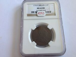 Click now to see the BUY IT NOW Price! 1770 GREAT BRITAIN 1/2 P NGC MS 62 BROWN
