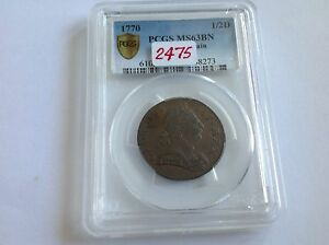 Click now to see the BUY IT NOW Price! 1770 GREAT BRITAIN 1/2 D PCGS MS 63 BROWN