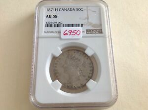 Click now to see the BUY IT NOW Price! 1871H CANADA 50 CENTS NGC AU 58 LOW MINTAGE