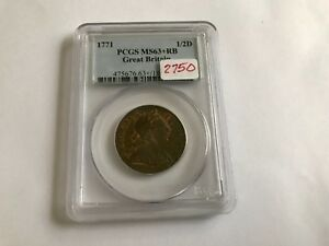 Click now to see the BUY IT NOW Price! 1771 GREAT BRITAIN 1/2 D PCGS MS 63  RED BROWN