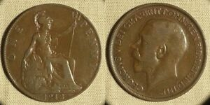 ERROR: GR. BRITAIN 1P 1912 KM810  STRUCK THRU WIRE AT DATE  EC1972