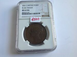 Click now to see the BUY IT NOW Price! 1856 GREAT BRITAIN PENNY PLAIN TRIDENT NGC MS 62 BROWN KEY DATE