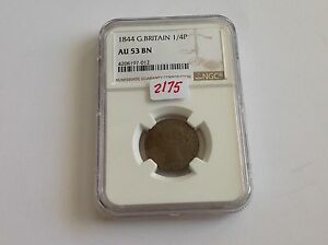 Click now to see the BUY IT NOW Price! 1844 GREAT BRITAIN 1/4 P NGC AU 53 BROWN