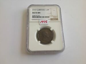 Click now to see the BUY IT NOW Price! 1717 GREAT BRITAIN 1/2 P NGC AU 55 BROWN DUMP ISSUE