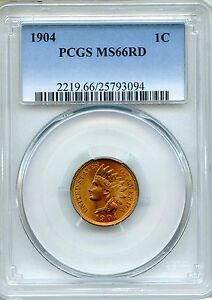 Click now to see the BUY IT NOW Price! 1904 INDIAN CENT PCGS MS66RD   RED 1C  25793094