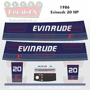 1980 Evinrude 20 HP Two Stroke Outboard Repro 10 Pc Marine Vinyl Decals 20RCS