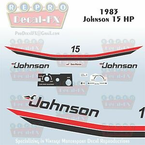 1981 Johnson 15 HP Outboard Reproduction 11 Piece Marine Vinyl Decal Sea-Horse