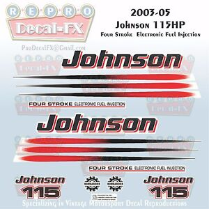 2006-07 Johnson 90 HP Black Cowl 2 Stroke Outboard Repro Saltwater Ed 15Pc Decal