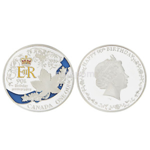 90TH QUEEN'S BIRTHDAY GIFT CANADA SILVER PLATED COMMEMORATIVE COIN CA