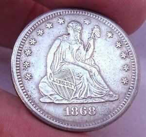 Click now to see the BUY IT NOW Price! U.S. 1868 S SEATED LIBERTY QUARTER  AU  DETAILS
