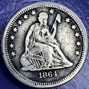 1864 S SEATED LIBERTY QUARTER 25C  DATE SAN FRANCISCO VF DETAILS 5704