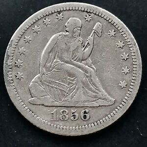 1856 O SEATED LIBERTY QUARTER 25C  DATE XF NEW ORLEANS 4237