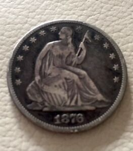 1876.  CC.. CARSON CITY   SEATED LIBERTY HALF DOLLAR EXTRA FINE  FANTASTIC DEAL