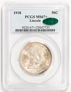 Click now to see the BUY IT NOW Price! 1918 50C SILVER COMMEMORATIVE LINCOLN PCGS MS67      CAC STICKERED