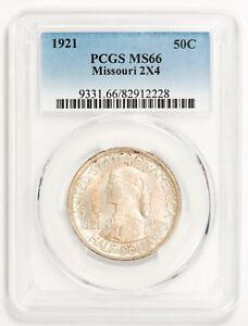 Click now to see the BUY IT NOW Price! 1921 50C SILVER COMMEMORATIVE MISSOURI 2X4 PCGS MS66