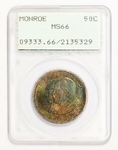 Click now to see the BUY IT NOW Price! 1923 S 50C SILVER COMMEMORATIVE MONROE PCGS MS66  BEAUTIFUL COLOR  REDUCED PRICE
