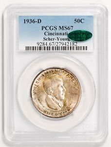 Click now to see the BUY IT NOW Price! 1936 D 50C SILVER COMMEMORATIVE CINCINNATI PCGS MS67 CAC STICKERED  SCHER YOUNG