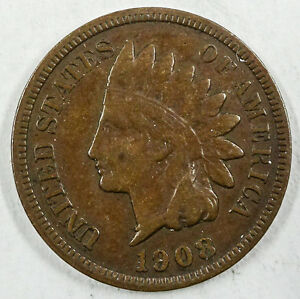 1908 S INDIAN HEAD CENT VF     WE COMBINE SHIPPING