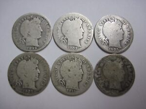 GROUP OF 6 CIRCULATED UNCERTIFIED BARBER DIMES UNGRADED 1899 1916