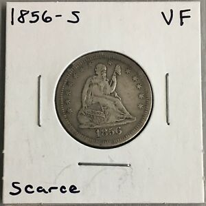 1856 S SEATED LIBERTY QUARTER FINE VF LY
