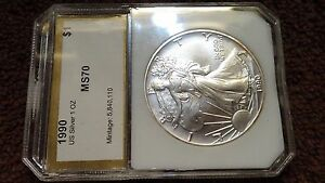 1990 .999  AMERICAN SILVER EAGLE SLABBED NO IMPERFECTIONS WHATSOEVER.  LOT84