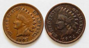 1904 TONED 1907 INDIAN HEAD CENT    LOW SHIPPING