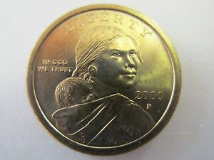 TWO   2000P NATIVE AMERICAN SACAGAWEA GOLDEN ONE DOLLAR UNCIRCULATED COIN