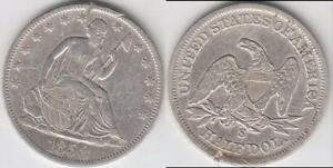 BETTER DATE 1858 S LIBERTY SEATED  HALF DOLLAR XF DETAILS