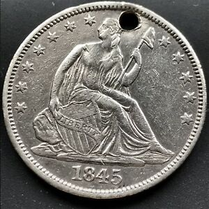 1845 SEATED LIBERTY HALF DOLLAR 50C AU DETAILS UNC HIGH GRADE 6486