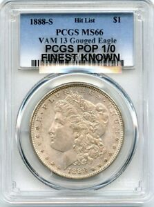 Click now to see the BUY IT NOW Price! C9531  1888 S VAM 13 GOUGED EAGLE HIT LIST 40 MORGAN $1 PCGS MS66   POP 1/0