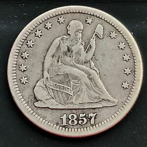 1857 O SEATED LIBERTY QUARTER DOLLAR 25C NEW ORLEANS  HIGH GRADE XF 4238