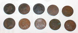 10 HALF CENT 1803 1804 1808 1809 1826 1828 1834 1835 CLASSIC DRAPED BUST COINS