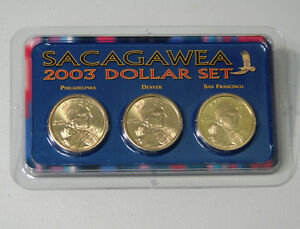 2003 2004 SACAGAWEA DOLLAR SET OF 3 P D S TOTAL 6 COINS PROOF AND UNCIRCULATED