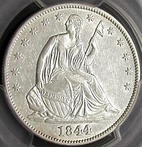 1844 PCGS AU53 SEATED LIBERTY HALF DOLLAR > WHITE / CLEAN /   DATE <
