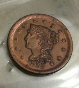 1855 BRAIDED HAIR LIBERTY HEAD 1 LARGE CENT UPRIGHT HIGH GRADE.