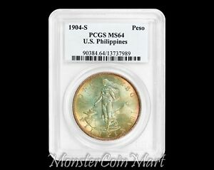 Click now to see the BUY IT NOW Price! 1904 S PESO PCGS MS64   US PHILIPPINES / UNITED STATES / USPI  TONED NOW ON SALE