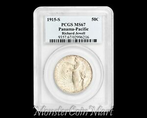 Click now to see the BUY IT NOW Price! 1915 S PANAMA PACIFIC SILVER COMMEMORATIVE HALF DOLLAR PCGS MS67   NICE TONING